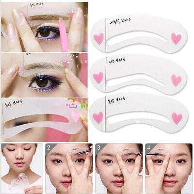 3 Style Women Magic Eye Brow Class Drawing Guide Eyebrow Stencil Card Template