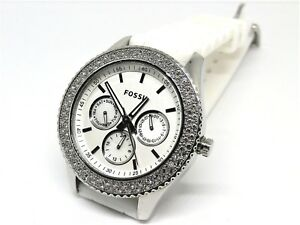 FOSSIL-Stella-3-Dial-Watch-Crystal-Bezel-5-ATM-Rubber-white-Band-New-Battery