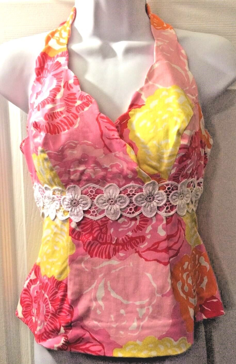 LILLY PULITZER Women's Halter Top Pink Yellow White Shirt Floral Cruise Vtg Sz 2