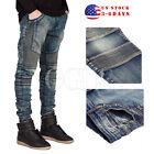 US stock Slim Fit Men's Biker Jeans Skinny Demin Pants Straight JEAN Trousers