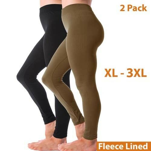 2 Pack Thermal Thick Fleece Lined Full Length Legging Pants Plus Size XL 2XL 3XL