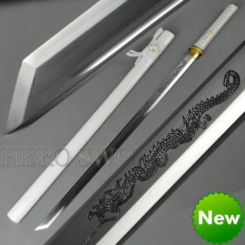 Dragón Blanco espada samurai japonés kirihadukuri Recto Ninja ESPIGA COMPLETA AFILADA