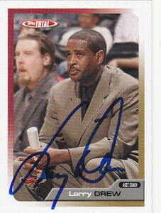 LARRY DREW ATLANTA HAWKS SIGNED CARD LOS ANGELES LAKERS CLIPPERS PISTONS KINGS