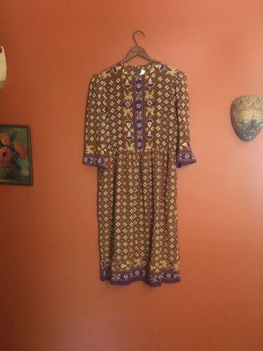 Vintage Malcom Starr 100% Silk Puff Floral Folk Pu