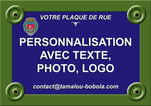 PLAQUE RUE PERSONNALISABLE Type PARIS Au choix 20x30 ou 15x20-3 épaisseurs