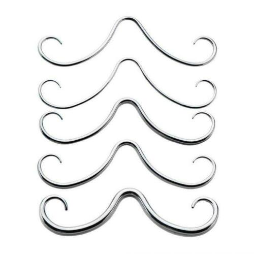 316L Surgical Steel Curly High Polish Septum Mustaches