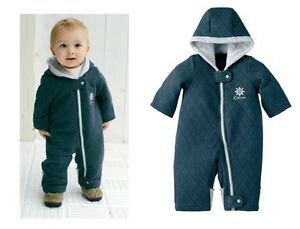 d6460033a BABY BOY TODDLER QUILTED SNOWSUIT WINTER SUIT JACKET WARM ONE PIECE ...