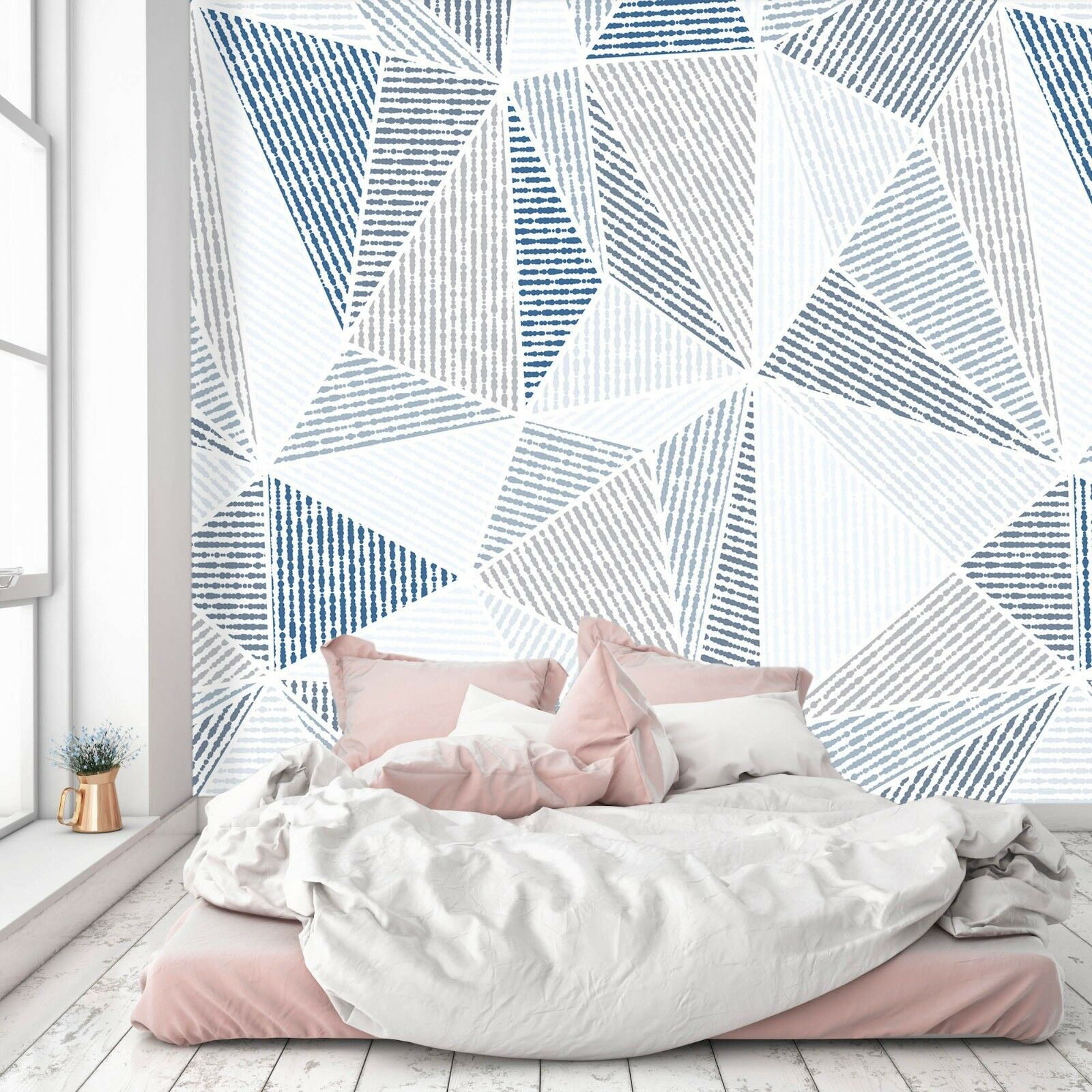 3D White Triangle 733 Wall Paper Exclusive MXY Wallpaper Mural Decal Indoor Wall