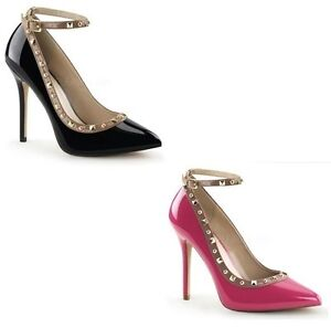 PLEASER AMUSE 28 STUD PATENT ANKLE ANKLE ANKLE STRAP HIGH HEEL POINTED TOE Schuhe ... 042dd6