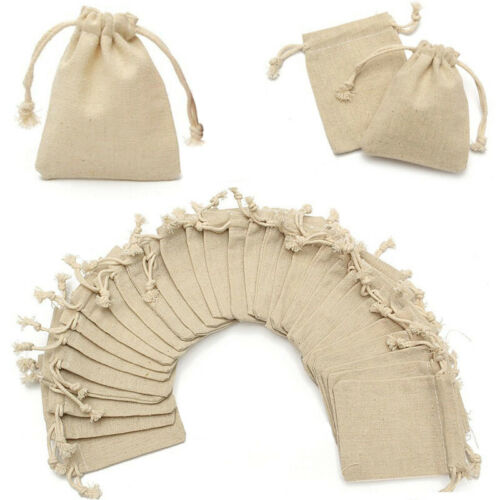 Small Bag 30* Natural Linen Pouch Drawstring Burlap Jute Sack Jewelry Bags Gift
