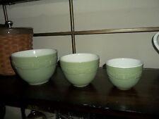 Longaberger Pottery Nesting PREP / Mixing Bowls  -  Set of 3 - SAGE - Pls Read!