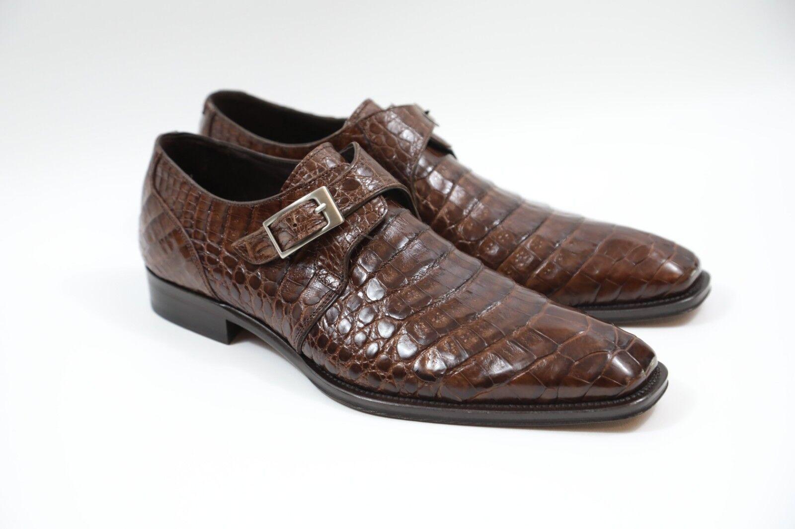 85 MEZLAN 'Gables' Genuine Crocodile Monk Strap scarpe Dimensione 8 M  RETAIL  795