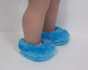 0ac61a35f4b SKY BLUE Faux Fur Fuzzy Doll Slippers House-Shoes For 18