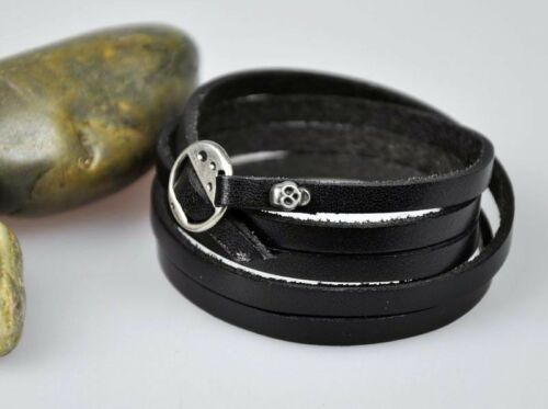HOT Super Long 5-Wraps Cool Surfer Vintage Leather Wristband Bracelet Cuff Black