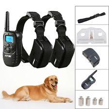 300 Yard Hunting LCD 100LV Level Shock Vibra Remote Pet 2 Dog Training Collar