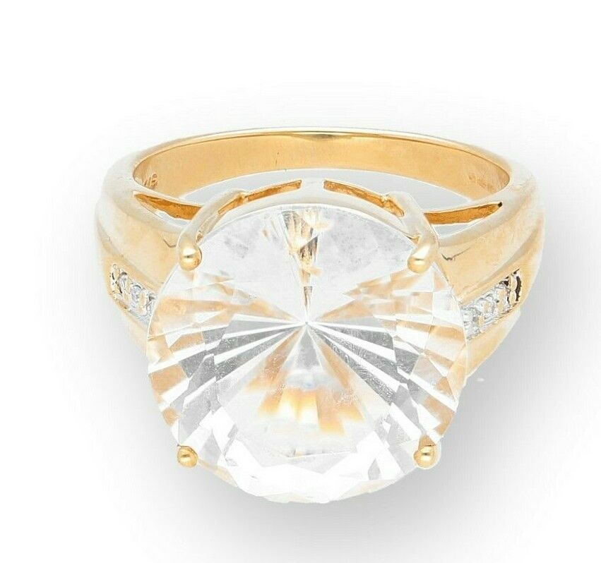 9Carat Yellow gold 9.07ct Clear Quartz Solitaire & Diamond Accents Ring (Size N)