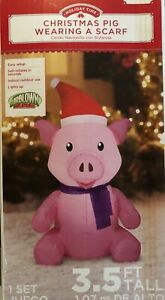 Airblown-Inflatable-3-5-Ft-Tall-Pig-Wearing-A-Scarf-Christmas-Gemmy