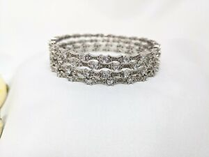 Indian Pakistani silver 4 bangles set with clear crystals size 2.6
