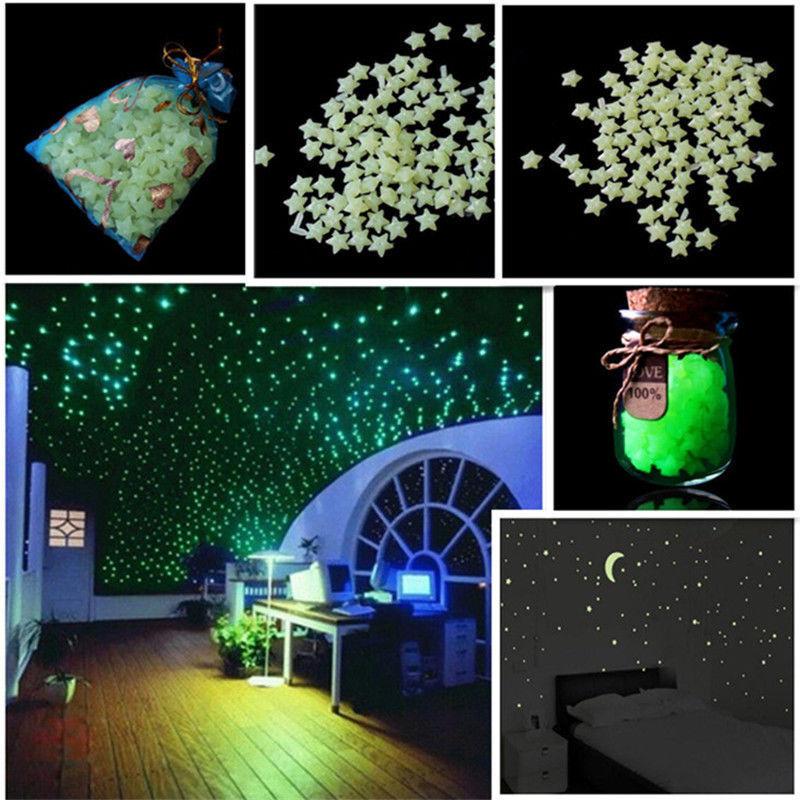 100 aufkleber leuchtende sterne nachtleuchtende dekor schlafzimmer wandtattoo s ebay. Black Bedroom Furniture Sets. Home Design Ideas