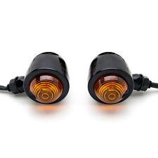 2x Black Motorcycle Amber Turn Signals Mini Bullet Blinker Indicator Lights Bulb