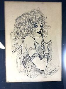 Vintage 1960s Signed Sketch Drawing of Glamorous Woman Signed Stella Grump