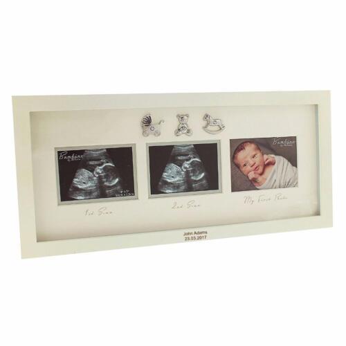 Personalizado Grabado Bebé Scan Foto Marco Regalo triple con iconos de 3D CG446-P