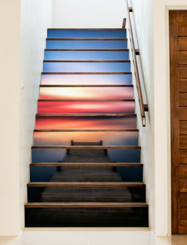 Details about  /3D Sunset Pier ZHU340 Stair Risers Decoration Photo Mural Vinyl Wallpaper Amy