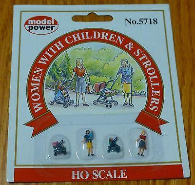 Model Power #5718 Pedestrians pkg(6) -- Young Women w/Kids & Strollers