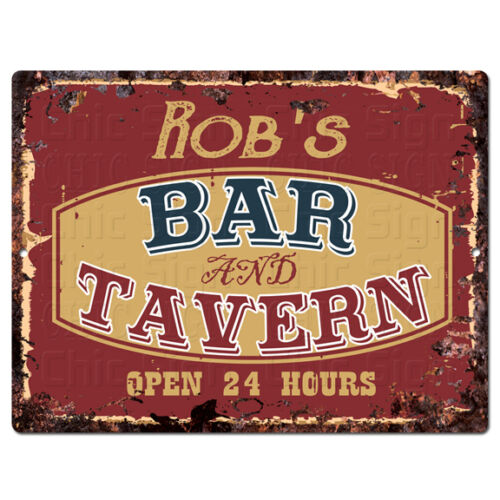PPBT0603 ROB/'S BAR and TAVERN Rustic Tin Chic Sign Home Store Decor Gift