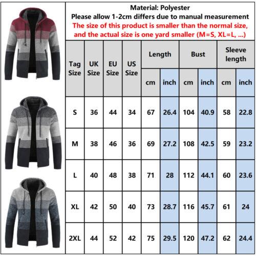 Men/'s Fleece Lined Knitted Cardigan Hoody Sweater Winter Warm Jumper Coat Jacket