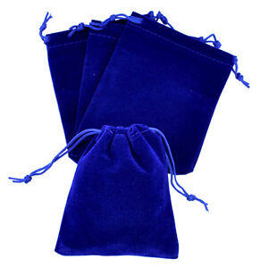 lot-of-25-50-100-Blue-4-034-x-6-Jewelry-Pouches-Velvet-Gift-Bags-Wedding-Favors
