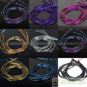 Hematite-Gemstone-2mm-x-4mm-Tube-Beads-16-039-039-Metallic-Silver-Gold-Blue-Purple