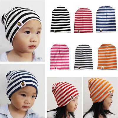 Cute Boy Girl Baby Infant Toddler Kids Stripe Crochet Cotton Hat Beanie Soft Cap