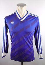 80er adidas Vintage Trikot Shirt Gr S (3/4) oldschool 80er blau Rohling jersey