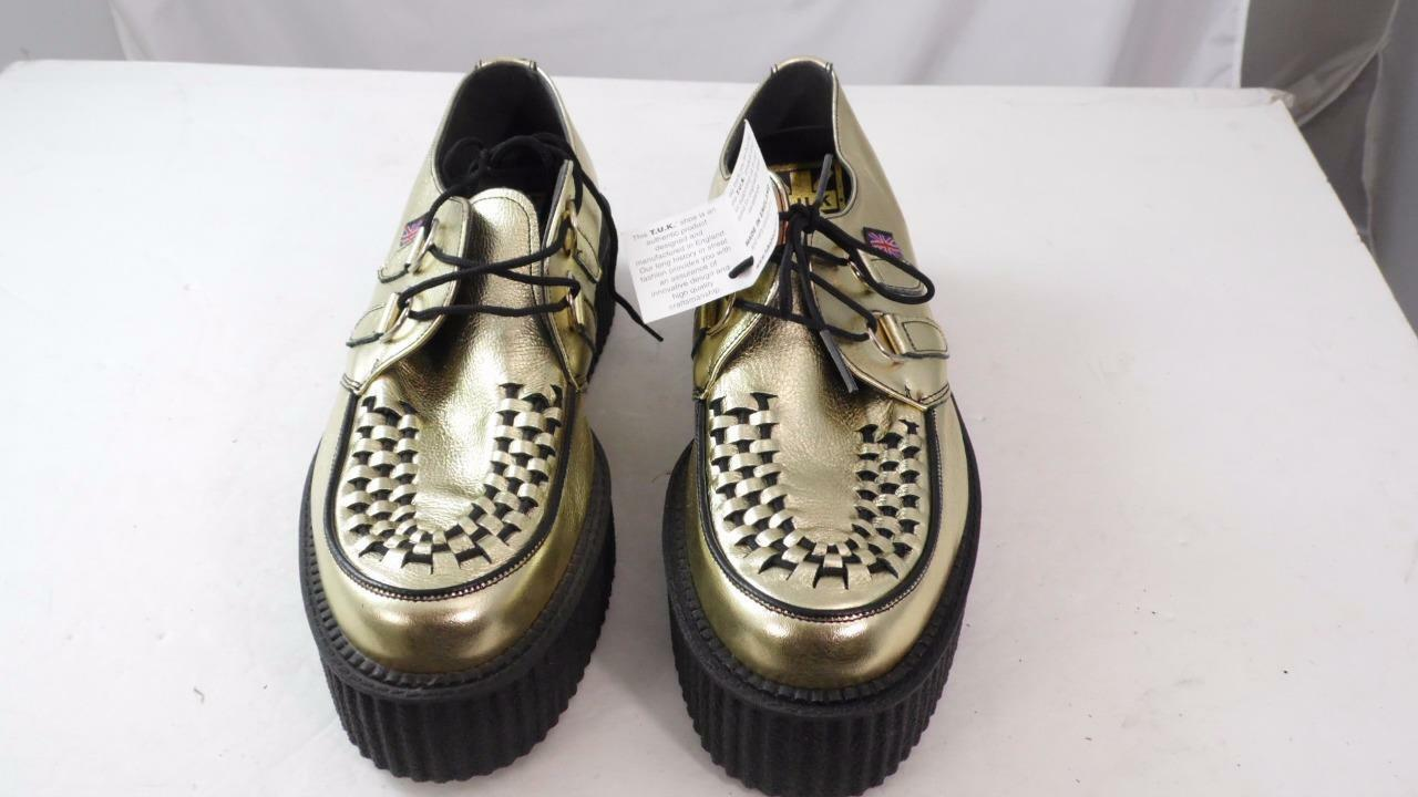 TUK MIE ENGLAND ENGLAND ENGLAND MADE 'SQUIGGY' gold LEATHER CREEPER SOLE 10 WOMEN 8 M MENS 843660