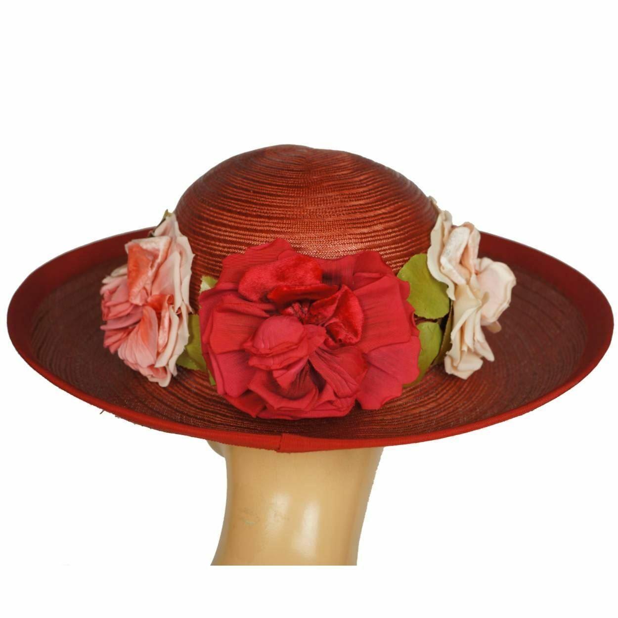 Vintage 1940s Red Straw Hat Wide Brim Flower Deco… - image 2