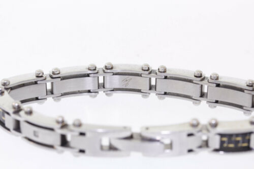 Details about  /Shaquille O/'Neal 11mm Stainless Steel /& Carbon Fiber Diamond Accented Bracelet