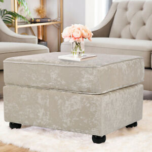 Silver Crushed Velvet Upholstered Footstool Coffee Table Bench Stool Window Seat Ebay