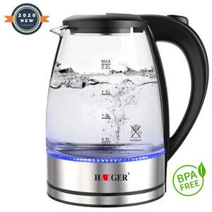 2,2 L Wasserkocher Glas Teekocher 2200W BlaueLED Kocher kabellos Borosilikatgla