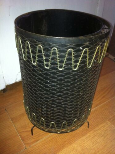 Wire Waste Basket vintage mid century black metal wire mesh waste basket trash can