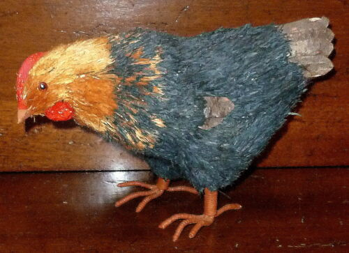 FOLK ART~COLORFUL HAND MADE & DYED SISAL/ NATURAL MATERIALS HEN CHICKEN FIGURINE