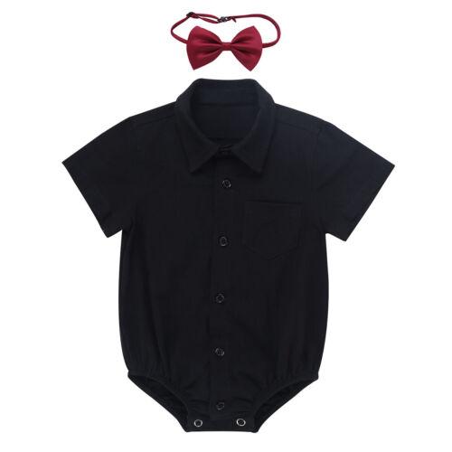 Baby Boys Wedding Formal Suit Bowtie Gentleman Romper Dress Shirt Tuxedo Outfit