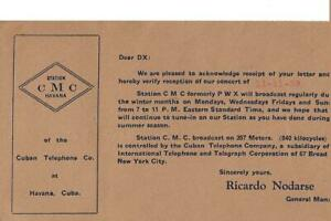 1929-Broadcast-station-CMC-Havana-Cuba-QSL-radio-card