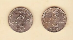 Philippines-25-centavos-Lady-with-Hammer-1962-1964-2-coin-Unc-Toned