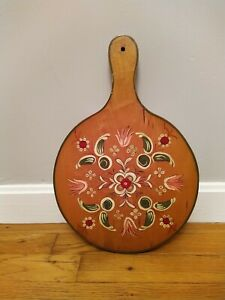 Vintage 1957 Wood Paddle Hand Painted Floral Cutting Board Kitchen Wall Art Ebay