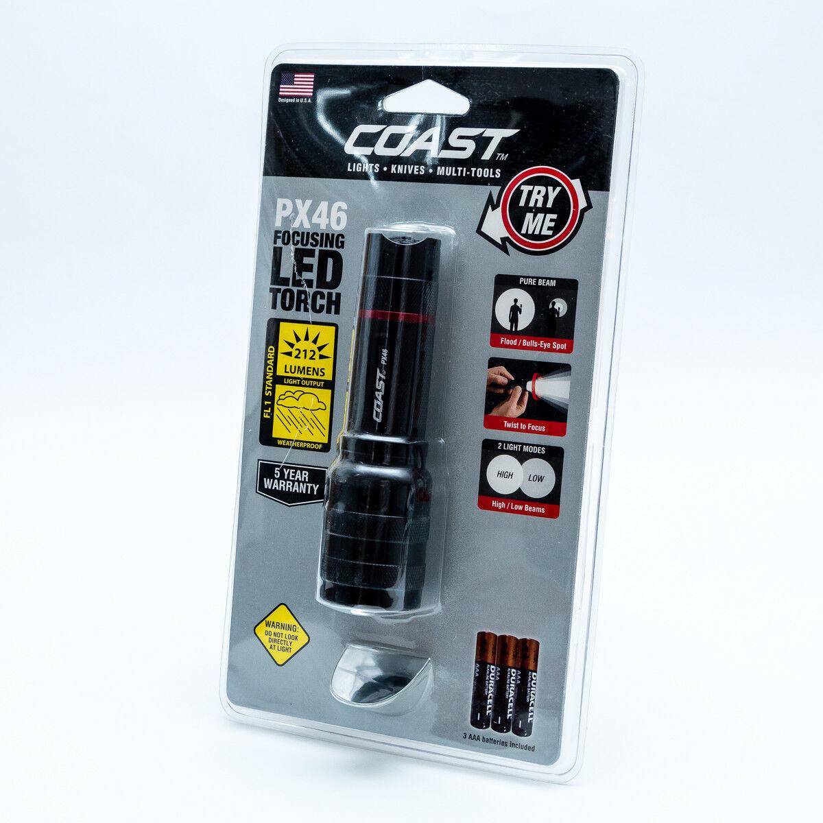 Coast PX46 High Performance LED Taschenlampe 212 Lumen Extrem Hell / NEU / Hell OVP 8c068a
