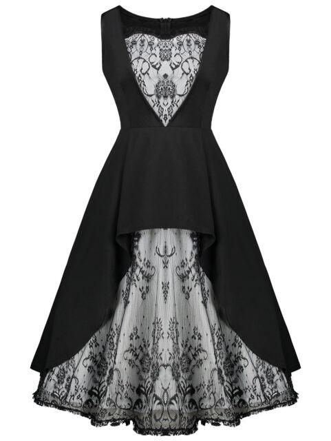 Punk Rave Lace Insert Gothic Goth Lolita Burlesque Rock Black Corset Mini Dress