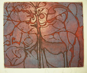 Charitable Composition Abstrait Art Abstrait Abstract C1970 Art Moderne Estampe 40 / 100