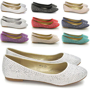 Womens-Bridal-Diamante-Shoes-Ladies-Sparkly-Slip-On-Bridesmaid-Pumps-Size-3-9