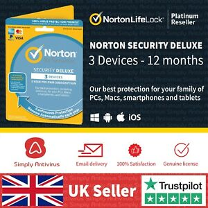 Norton Security Deluxe 2021 3 Multi Devices 1 Year - *5 Minute Delivery by Email